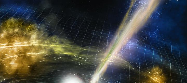 Artist's illustration of two merging neutron stars